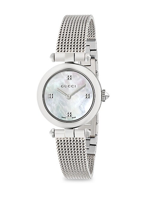 """Image of From the Diamantissima Collection. Ronda quartz movement. Water resistant to 5 ATM. Round polished stainless steel case, 27mm (1"""").White mother of pearl dial. Sapphire crystal with antireflective coating. Pyramidal indexes. Stainless steel mesh bracelet."""