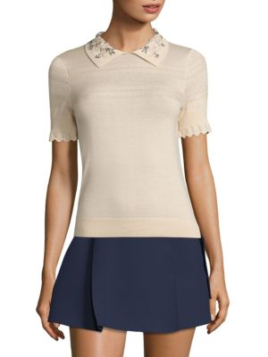 "Image of Jeweled collar amplify this distinctively wool-blend top. Polo collar. Short sleeves with scalloped cuffs. Pullover style. Rib-knit hem. About 25"" from shoulder to hem. Superfine merino wool/silk. Dry clean. Imported. Model shown is 5'10"" (177cm) wearing"