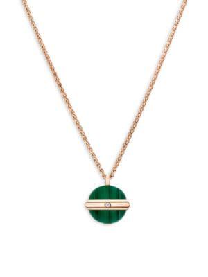 Piaget Possession Diamond, Malachite & 18K Rose Gold Pendant Necklace