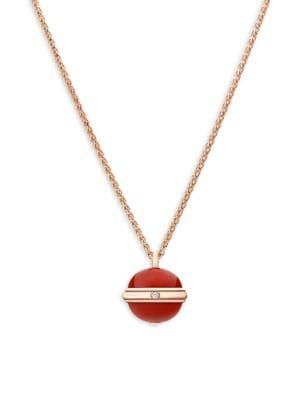 Piaget Possession Diamond, Carnelian & 18K Rose Gold Pendant Necklace