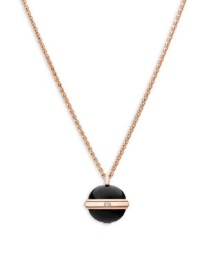 Piaget Possession Diamond, Black Onyx & 18K Rose Gold Pendant Necklace