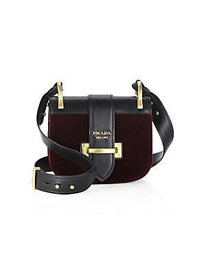 49ea1b464c45 Prada - Pionnière Velvet   Leather Saddle Bag - saks.com