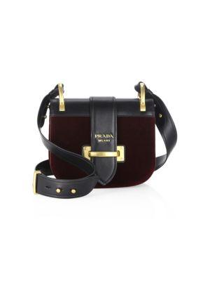 Pionnière Velvet & Leather Saddle Bag by Prada