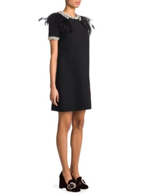 Crystal & Feather-Trimmed Shift Dress
