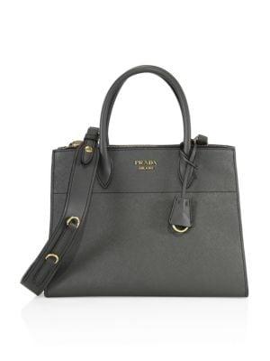 Paradigme Saffiano Leather Satchel, Mercurio