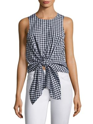 Evelyn Tie-Front Gingham Cropped Top by Prose & Poetry