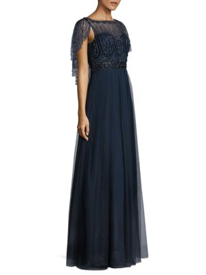 BASIX BLACK LABEL Beaded Capelet Gown in Navy