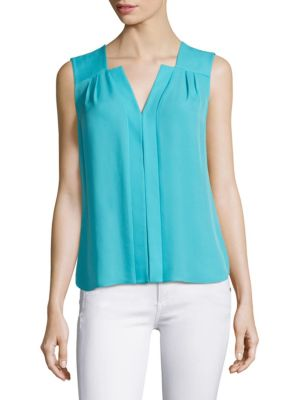 Pleated Sleeveless Silk Top by Elie Tahari