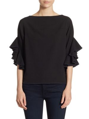 Ruffle-Sleeve Crepe Blouse by