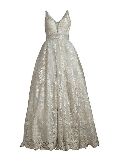 """Image of Ball gown with allover embroidered details.V-neck and back. Sleeveless. Concealed back zip. Bodycon-fit. About 66"""" from shoulder to hem. Polyester. Dry clean. Imported. Model shown is 5'10"""" (177cm) wearing US size 4."""