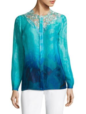 Ronisha Dotted Floral Lace Blouse by Elie Tahari