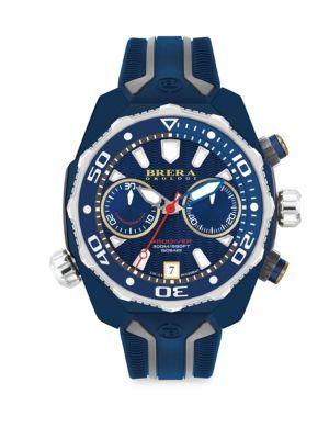 BRERA OROLOGI Pro Diver Swiss Quartz Strap Watch in Navy Blue