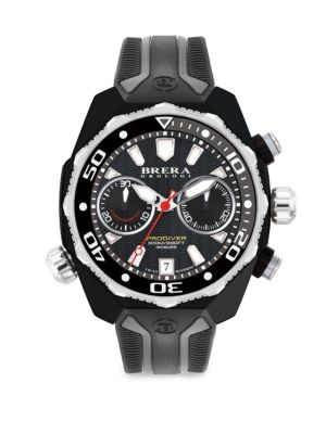BRERA OROLOGI Pro Diver Swiss Quartz Strap Watch in Black