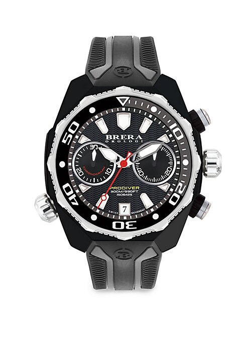 """Image of Multi-function chronograph watch with date and subdials. Swiss quartz movement. Water resistant to 10 ATM. Round casecase, 47mm (1.75"""").Fixed external bezel. Multi-layer dial. Stick indexes. Two subdials at 3 o'clock and 9 o'clock. Date window at 6 o'cloc"""
