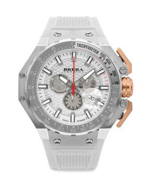 BRERA OROLOGI Gran Turismo Swiss Quartz Strap Watch in Silver