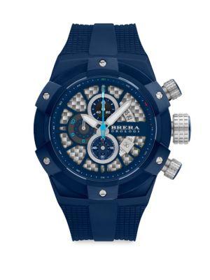 BRERA OROLOGI Supersportivo Quartz Strap Watch in Navy Blue