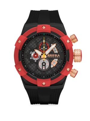 """Image of Multi-function chronograph watch with date and subdials. Quartz movement. Water resistant to 10 ATM. Round case, 48mm (1.75"""").Fixed external bezel. Multi-layer dial. Arabic number markers. Three subdials at 6 o'clock, 9 o'clock and 12 o'clock. Date window"""