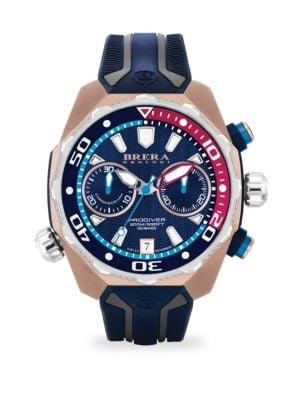 """Image of From the Pro Diver Collection. Multicolor diving watch secured on ridged rubber strap. Quartz movement. Water resistant to 10 ATM. Round rose goldtone stainless steel case, 47mm (1.75"""").Fixed eternal bezel. Multi-layer dial with wave pattern. Stick hour m"""