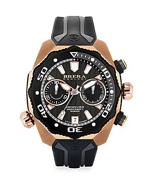 "Image of From the Pro Diver Collection Multicolor diving watch secured on ridged rubber strap Quartz movement Water resistant to 10 ATM Round rose goldtone stainless steel case, 47mm (1.75"") Fixed eternal bezel Multi-layer black dial with wave pattern Dot and stic"