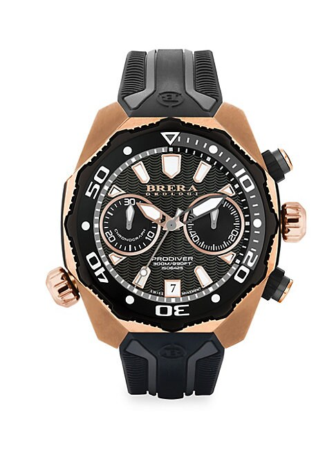 """Image of From the Pro Diver Collection. Multicolor diving watch secured on ridged rubber strap. Quartz movement. Water resistant to 10 ATM. Round rose goldtone stainless steel case, 47mm (1.75"""").Fixed eternal bezel. Multi-layer black dial with wave pattern. Dot an"""
