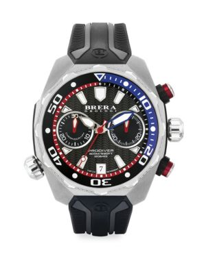 BRERA OROLOGI Pro Diver Stainless Steel & Rubber Strap Watch in Silver