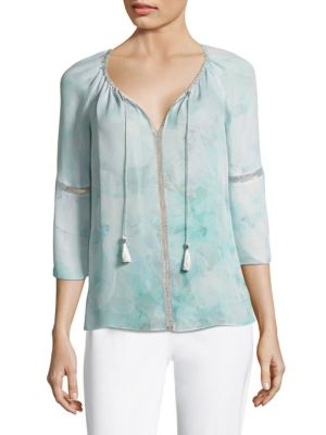 Lucile Silk Bell Sleeve Blouse by Elie Tahari