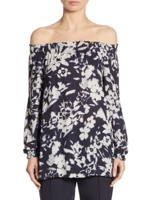 Raelyn Floral-Print Off-The-Shoulder Blouse by Lafayette 148 New York