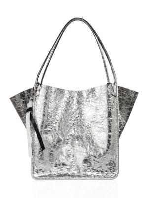 Extra-Large Crackled Metallic Tote Bag, Gray, Silver