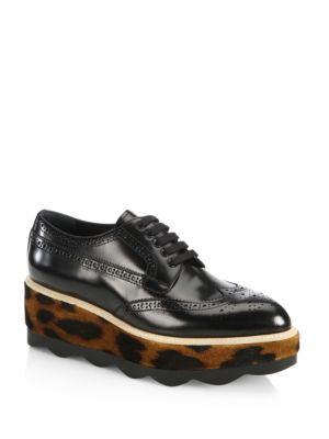 Glossed-Leather And Leopard-Print Calf Hair Platform Brogues, Black
