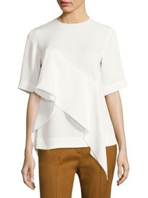 Short Sleeve Ruffle Front Blouse by Diane von Furstenberg