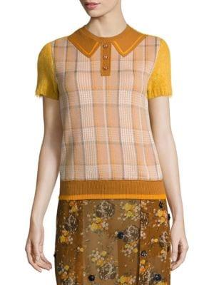 Retro Plaid Knit Polo Top by COACH