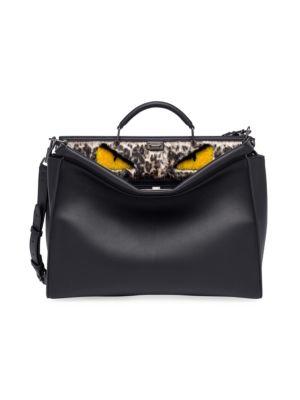 Fendi Peekaboo Leather & Fur Satchel