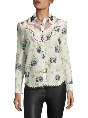 Printed Silk & Lace Western Blouse by COACH