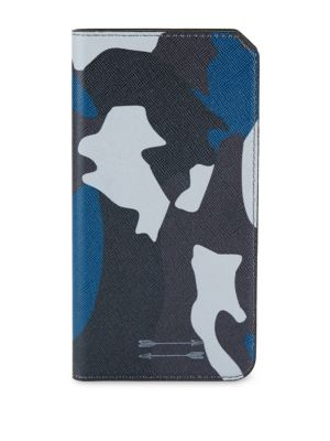 Saffiano Leather Folio Iphone 7+ Case, Blue