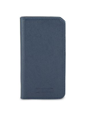 Saffiano Leather Folio Iphone 7 Case in Navy