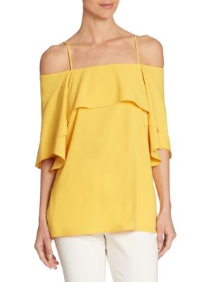 Ruffled Cold Shoulder Top by Halston Heritage