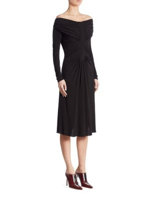 "Image of Chic knee-length dress with ruched detailing. Off-the-shoulder neckline. Long sleeves. Concealed back zip. About 43"" from shoulder to hem. Viscose. Dry clean. Made in Italy. Model shown is 5'10"" (177cm) wearing US size 2."