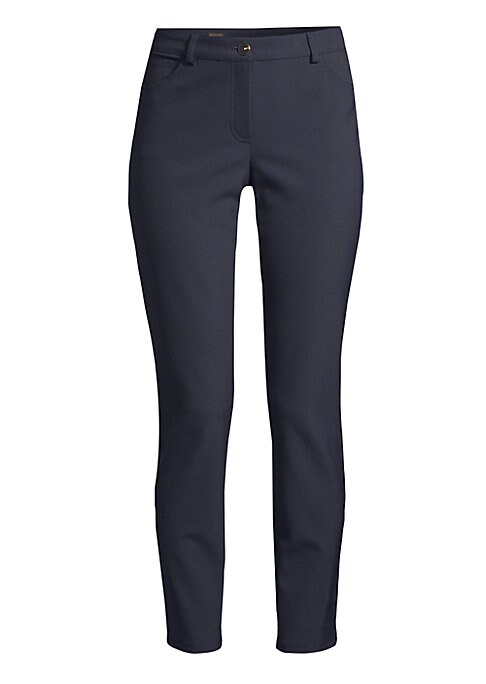 "Image of Streamlined slim-leg ankle pant with stretch finish. Belt loops. Zip fly with button closure. Five-pocket style. Rise, about 8"".Inseam, about 27"".Nylon/elastane. Hand wash. Imported of Italian fabric. Model shown is 5'10"" (177cm) wearing US size 4."