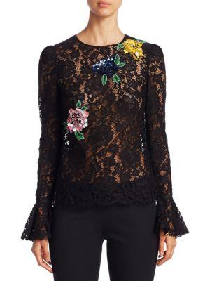 Floral Lace Embellished Blouse by Monique Lhuillier
