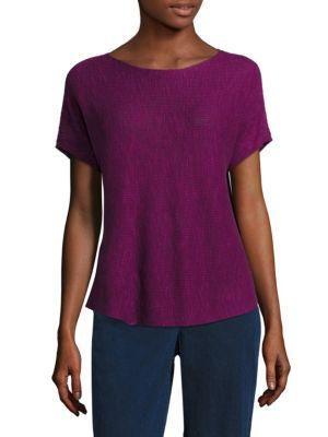 Rib-Knit Organic Linen & Organic Cotton Box Top by Eileen Fisher