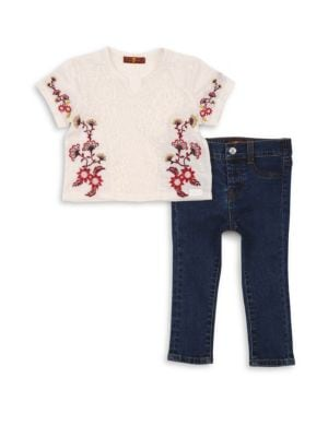 Image of Little girls are sure to love the perfectly coordinated styling of the 7 For All Mankind Embroidered Tee and Jean Set in white. This two-piece set includes a versatile pair of stretch jeans in a skinny 5-pocket silhouette that can be easily teamed with an