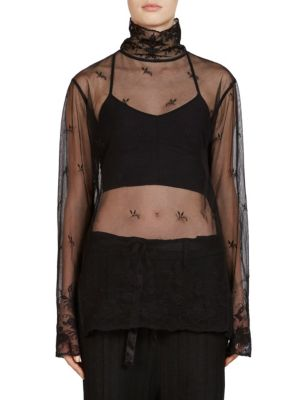 Embroidered Turtleneck Top by Ann Demeulemeester
