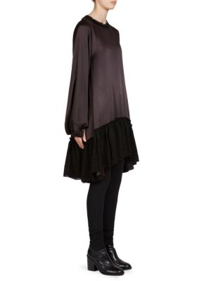 """Image of Silk gauze dress in chic colorblock design. Roundneck. Long sleeves. Vented cuffs. Pullover style. About 34"""" from shoulder to hem. Silk. Dry clean. Imported. Model shown is 5'10"""" (177cm) wearing US size 4."""