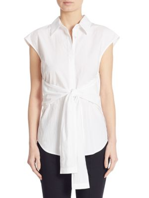 Tie-Front Cotton Poplin Shirt by T by Alexander Wang