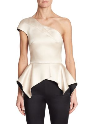 Rodmell Satin One Shoulder Top by Roland Mouret
