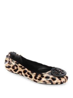 Tory Burch Minnie Leopard-Print Patent Leather Travel Ballet