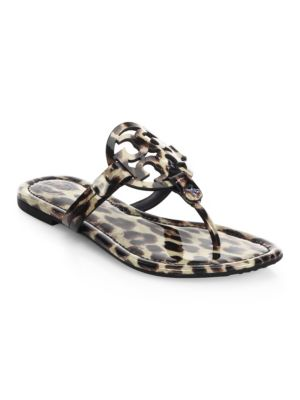 Miller Natural Leopard Print Leather Flat Sandals