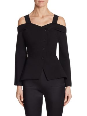 Burgess Button-Front Cold Shoulder Shirt by Roland Mouret
