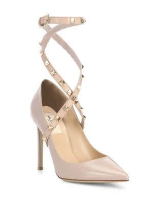 Studwrap Leather Ankle Strap Pumps by Valentino Garavani