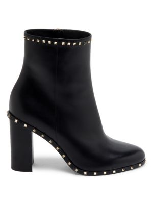 Pyramid-Studded Heeled Ankle Boots, Black